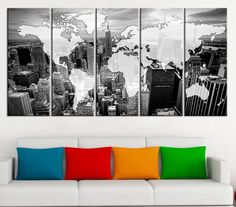 Large Wall Art Canvas Print - Black and White WORLD MAP on New York City - White and Black World Map Manhattan Canvas Printing