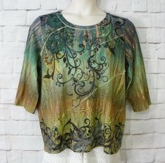 Womens Plus CJ BANKS Sublimated Floral Embellished Knit ¾ Sleeve Top Size 1X #CJBanks #KnitTop #Casual