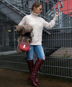 Burgundy boots and houndstooth jacket with Chloé Drew