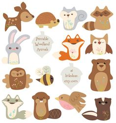 Printable Woodland Animals by Aimee Ray. These cuties are perfect for making banners, cards, party decorations, scrapbooks, even plush or ornaments! Download PDF printables Sets 1 and 2 at www.littledear.etsy.com