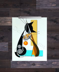 Letter A, Mid Century Modern Cat Alphabet, Giclee Print by Domini – Domcats Thing 1, Create Words, Mid Century Modern Design, Cat Art, Illustration Art, Illustrations, Giclee Print, Mid-century Modern, Alphabet