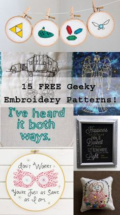 15 Free geeky embroidery patterns
