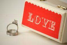 Ring Bearer Box - Customizable keepsake box - Wedding ring bearer pillow - Valentines Day Ring Bearer Box. LOVE Ring Box.  Found at Little Wee Shop here: https://www.etsy.com/shop/LittleWeeShop