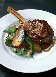 Tyler Florence -- Veal Chops, Roasted Potatoes w/ Blue Cheese Dressing & Mint