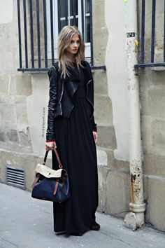 reinventing the maxi, maxi black dress, biker jacket, ysl bag