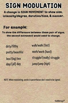 ASL Grammar: Sign Modulation