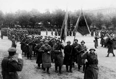 Parade of Soviet troops on the streets of Riga.