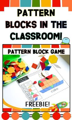 Blog post about using Pattern Blocks in the classroom (with fun free printable pattern block math game and free printable pattern block mat)! #mathgames #freebie #primaryplanet