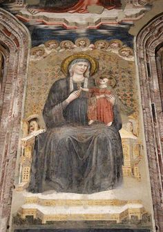 Maestro dell'Arengo (giottesco di Scuola riminese) - Madonna in trono - affresco - Abside di Sant'Agostino, Rimini