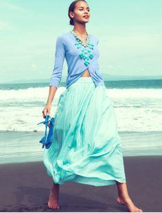 Mint skirt, turquoise necklace, denim jacket