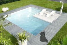 Square pool, would like the inset square slightly lowered into water for lounging.