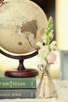 homeschool spring tea books, chalkboard, globe, teacup, teapot, votives, centerpiece with book page runner