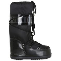 Moon Boot Women Mb Glance Shiny Nylon Boots ($110) ❤ liked on Polyvore featuring shoes, boots, black, black rubber sole shoes, black shoes, nylon boots, black boots and polish shoes