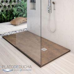 Plato de ducha de resina y carga mineral con textura bambú. Una alternativa original y natural al clásico plato de ducha #platosdeducha