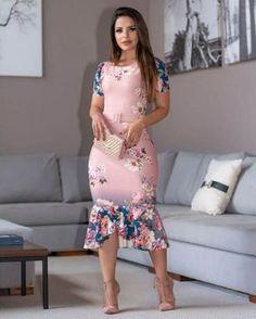 Vestido Tubinho Peplum Rosé Piquet - Moda Evangélica - Flor de Amêndoa