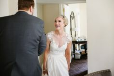 Love it when a couple has a good first look reaction! Getting ready at the Palmer House Chicago .   XO AZUREÉ