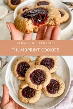 Healthy Thumbprint Cookies are a delicious and simple cookie to make. They are both vegan and gluten-free and come together with 6 simple ingredients using almond flour, coconut oil, maple syrup and baking powder. The center is filled with a homemade chia seed jam that is both sweet and delicious! Healthy Cookies, Gluten Free Cookies, Gluten Free Desserts, Healthy Desserts, Vegan Gluten Free, Gluten Free Recipes, Vegan Recipes, Jam Recipes, Cookie Recipes