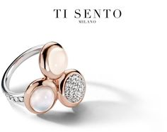 True Milanese style is never out of fashion! How about these three soft tones of white and sparkle combined with rose gold, all in one ring. Timeless, isn't it?