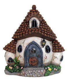 Loving this Round 10'' Solar Pinecone Cottage on #zulily! #zulilyfinds