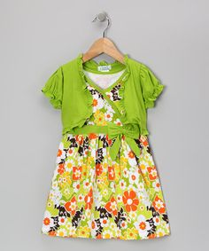 Take a look at this Lime Flower Dress & Shrug - Infant, Toddler & Girls by Littoe Potatoes on #zulily today!