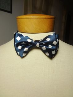 Satin Bow Tie Navy Blue with White by BowMeAwayByAlexandra on Etsy