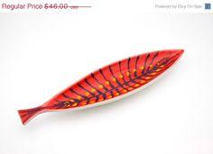 Mid Century Modern Porcelain Fish Plate on Etsy, $39.10