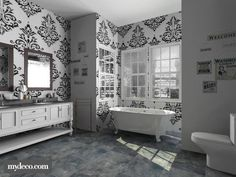 black and white by pinklilith. A design bathroom with products like the Chrome Stand Mirror Standing Mirror, Guest Bath, White Bathroom, Clawfoot Bathtub, 3d Design, Design Bathroom, Bathroom Ideas, Chrome, Room Decor