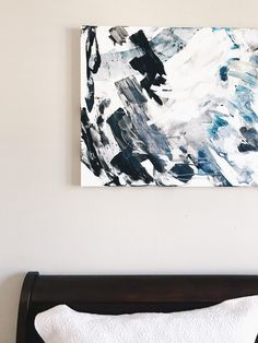 Detail of a large abstract painting in clients home. Black and white art for contemporary interior design