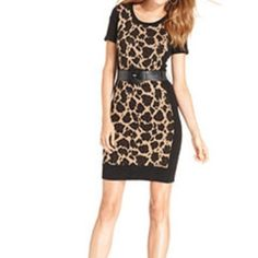 """Animal print sweater dress. Animal print sweater dress. Back side is all black. Black waist belt included. Measures 28"""" from underarm to hem. 41"""" bust area. 100% cotton. Price firm AGB  Dresses"""