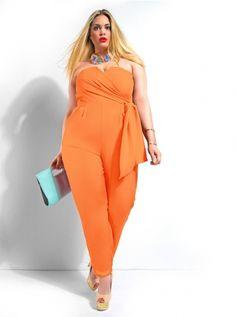 """Sydney"" Strapless Jumpsuit -Soft Orange"