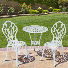 Best Choice Products Cast Aluminum Patio Bistro Furniture Set in White