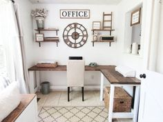 41 Cool Farmhouse Decorating Ideas for Your Home Office - Office Desk - Ideas of. - 41 Cool Farmhouse Decorating Ideas for Your Home Office – Office Desk – Ideas of Office Desk - Craft Room Office, Home Office Desks, Farmhouse Remodel, Rustic House, Home Office Design, Home Office Decor, Office Design, Farmhouse Office Decor, Home Decor