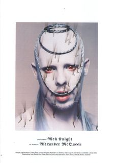 Alexander McQueen: Mc Killer Queen - The Face by Nick Knight, April 1998 Alexander Mcqueen, Killer Queen, Weird And Wonderful, My Idol, Knight, Halloween Face Makeup, Fashion Photography, Fantasy, England