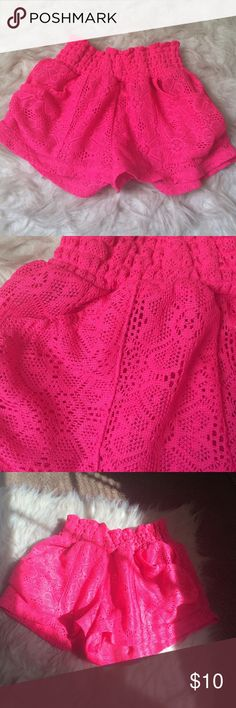 Bright Pink Swim Shorts  Never worn. Pretty lace material. Perfect for this summer ☀️☀️ Swim Coverups