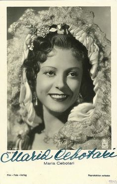 Maria Cebotari was a celebrated Romanian soprano and actress, one of Europe's greatest opera stars in the 1930s and 1940s. Beniamino Gigli considered Cebotari one of the greatest female voices he ever heard.