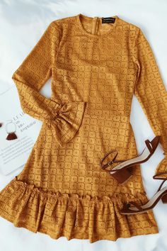 The Fifth Label Symbols Mustard Yellow Lace Long Sleeve Dress is sleek and stylish with a vibe! Lace mini dress with long sleeves and ruffled lace trim. Fall Outfits, Summer Outfits, Cute Outfits, Fashion Outfits, Summer Dresses, Mustard Yellow Dresses, Yellow Lace, Looks Style, My Style