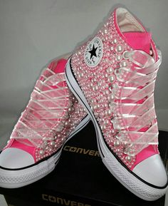 aa5f4cd6b334ad Wedding Converse- Bridal Sneakers- Bling   Pearls Custom Converse Sneakers-  Bridal Chuck Taylors- Wedding Sneakers- Converse hochzeit- Bride