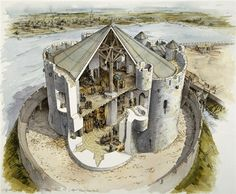 Cutaway reconstruction of Clifford's Tower in York, 14th Century.