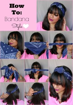 Updated Pin-Up Style! Great for second day hair. Bandana Hairstyles Short, Headband Hairstyles, Hairstyles With Bangs, Easy Hairstyles, African Hairstyles, Wedding Hairstyles, Hair Wrap Scarf, Hair Scarf Styles, Curly Hair Styles
