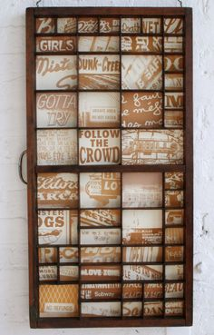 Ideas for old type drawers - great idea!  Cutting all the paper out for the slots...maybe not.