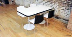 Four person canteen table with a bright orange edge, white top and base. This is part of the Edge Table Range which includes a two and eight seater table. Cafe Furniture, Office Furniture, White Table Top, News Cafe, Cafe Tables, Cafe Bar, Chrome, Dining Table, Detail