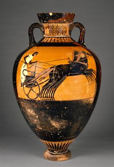 To celebrate the summer Olympics, we're highlighting works in our collection related to athletes and athletic competition, throughout the games. This particular painted vessel was awarded as a prize in the Panathenaia, an Athenian religious festival honoring Athena, the patron goddess of the city.