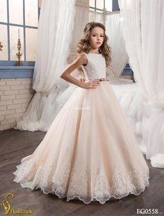 Vestidos hechos a medida de la muchacha de flor para la boda se ruborizan Princesa rosada Tutu Sequined Appliqued el arco del cordón 2017 vestido de la primera comunión del niño de la vendimia