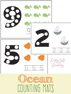 Ocean counting mats can be used by toddlers and prescholers to learn their numbers