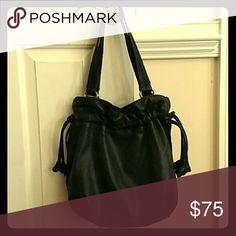 Leather drawstring bag Black leather  hobo bag Lucky Brand Bags Hobos