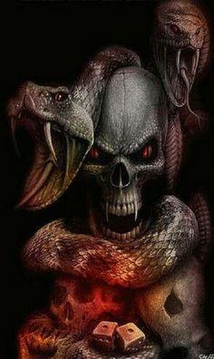 Skull and snake Dark Fantasy Art, Dark Art, Skull Tattoos, Body Art Tattoos, Reaper Tattoo, Totenkopf Tattoos, Skull Pictures, Skeleton Art, Skeleton Watches