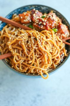 Teriyaki Chicken Noodle Bowls - A quick fix dinner made in less than 30 min. And the teriyaki sauce is completely homemade and way better than store-bought!