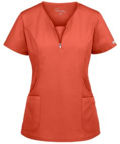 Look fitted and fashionable at work with the UA Butter-Soft STRETCH Curved Neck Zipper Scrub Top. Buy fabulous fashion scrubs at Uniform Advantage today! Scrubs Outfit, Scrubs Uniform, Scrub Suit Design, Scrubs Pattern, Beauty Uniforms, Cute Scrubs, Medical Uniforms, Nursing Clothes, Medical Scrubs