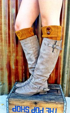 Mustard Short CableKnit Boot Cuffs with Vintage by ThreeBirdNest, $19.00