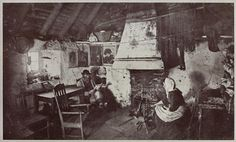 "Valentine & Sons, Ltd., 1924-1926, Interior of a crofter's cottage, Shetland, Scotland     ""Sheep-farming, one of the principal industries of the islands, is carried on chiefly by crofters, and the women, who are nearly all knitters, transform the fine wool into the beautifully soft garments that are so well known in this country. The photograph shows the interior of a poor crofter's dwelling."" (original caption)"